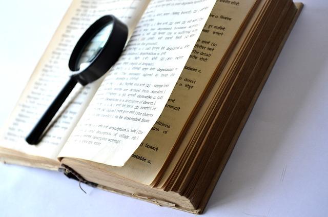 辞書に置かれた虫眼鏡