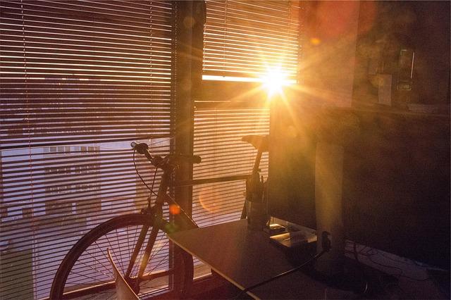 自転車を室内に置いた部屋